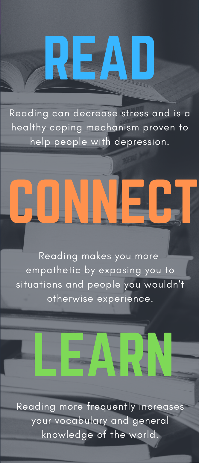 Read. Reading can decrease stress and is a healthy coping mechanism proven to help people with depression. Connect. Reading makes you more empathetic by exposing you to situations and people you wouldn't otherwise encounter. Learn. Reading more frequently increases your vocabulary and general knowledge of the world.