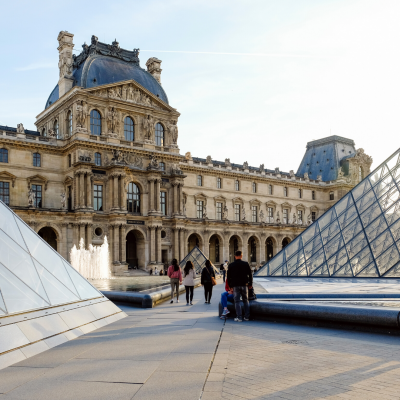 A photo of the Louvre