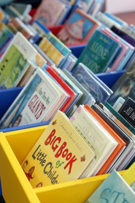 a photo of crates of children's books
